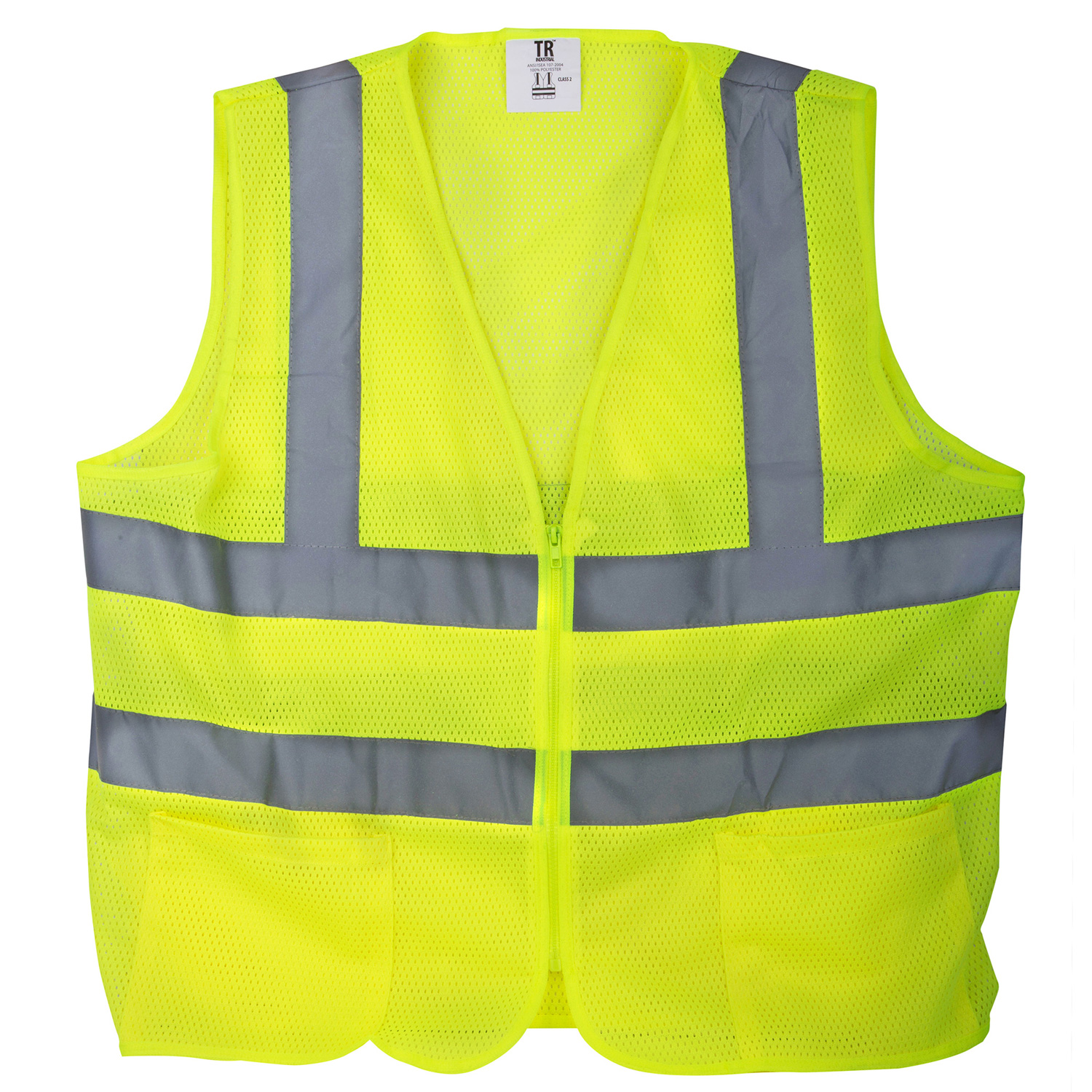 TR Industrial Neon Yellow Front Zipper Mesh Safety Vest- Size Large